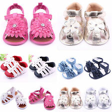 Toddler Baby Girls Soft Sole Leather Flower Shoes Kids Crib Shoes Summer Sandals