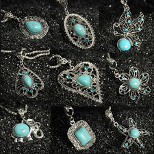 Turquoise Women Fashion Vintage Tibetan Silver Bib Crystal Pendant Long Necklace