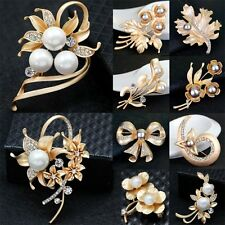 Women Fashion Flower Brooch Rhinestone Pearl Crystal Bouquet Pin Wedding Xmas