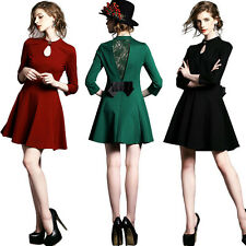 Womens Stylish Bowknot Long Sleeve Dress Lace Splice Party Cocktail Slim Dress