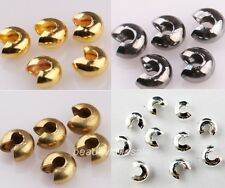 200 Pcs Silver Golden End Crimp Beads Knot Covers Finding 3/4/5mm