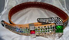 ATLAS WESTERN COWGIRL BLING LEATHER BELT VOLCANO CLEAR CRYSTAL RHINESTONE NEW