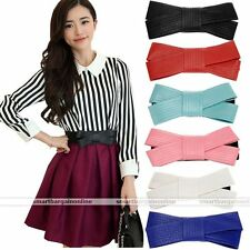 Korean Fashion Lovely Women Butterfly Bow Elastic Waistband Wide Stretch Belt X1