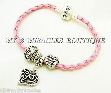 MOM Pink Braided Woven Leather CHARM BRACELET Euro Love Moms Heart Mother's Day
