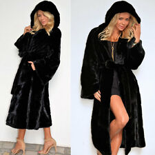 Casual Womens Thicken Fleece Wrap Coat Faux Fur Hooded Parka Winter Warm Jacket