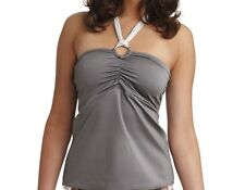 FREYA NEPTUNE TANKINI TOP SIZE 34D BANDEAU HALTER NECK GREY/SILVER 9903 NEW