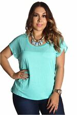 DEALZONE Solid Rounded Neck Chiffon Top 1X Women Plus Size Aqua Casual