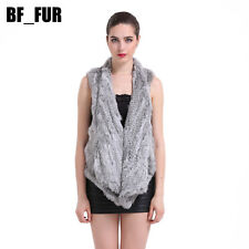 Women's Thick Coat Real Genuine Knitted Rabbit Fur Vest Jacket Free Size V0110