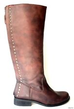 NIB STEVE MADDEN 'Rannt' brown STUDDED leather back zipper TALL FLAT BOOTS