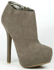 Taupe Gray Faux Suede Almond Toe Platform Fashion Ankle Boot Bootie Dollhouse