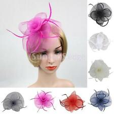Flower Mesh Feather Fascinator Hat Hairpin Weddings Races Prom Ladies Headpiece