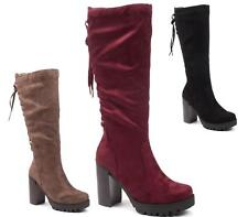LADIES HIGH HEEL PLATFORM CHUNKY CLEATED SOLE FAUX SUEDE GOTH KNEE HIGH BOOTS