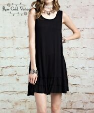 NWT Boutique Easel Ruffled Tunic Tank - Black - Small, Medium & Large