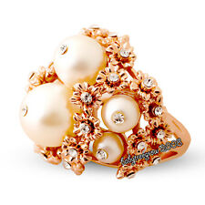 Gorgeous 18K Rose Gold GP Pearl Clear Crystal Fashion Ring 834