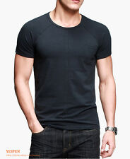 Mens T-Shirt Solid Color Basic Tee Round Neck Short Sleeve Exposed Joint Fitted