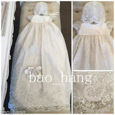 Toddler Baby Custom Baptism Christening Gown Lace Crystal Dresses With Bonnet