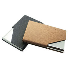 Men Faux Leather Stainless Steel ID Credit Card Holder Case Box Business Amusing
