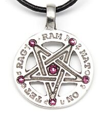 PEWTER Inverted PENTAGRAM Wiccan AMETHYST Crystal FEBRUARY Birthstone Pendant