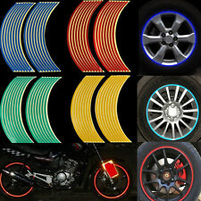 16 Strips Reflective Tape Motorcycle Car Wheel RIM Stripe Decal Adhesive Sticker