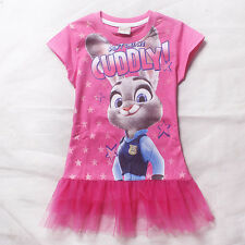 Girls Kids Princess Party Judy Hopps Rabbit Top Shirt Tulle Dress 3-8Y Clothing