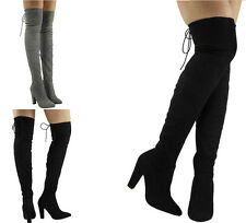 NEW WOMENS LADIES HIGH HEEL OVER THE KNEE PARTY STRETCH BOOTS SHOES SIZE 3-8