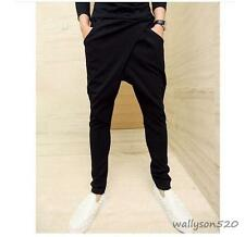 Hot Men's Pleated Unique Casual Black Baggy Loose Cool Harem Pants Long Trousers