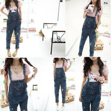 Fashion Women Denim Casual Loose Jumpsuit Hole Jeans Romper Overall Bib Pants