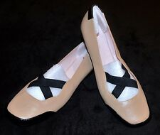 Taryn Rose Bethany tan black leather ballet flats shoes 8.5 9 9.5 10 11 $239