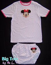 Adult Baby  Minnie Mouse snap shoulder RUFFLE butt set  *Big Tots by MsL*  abdl