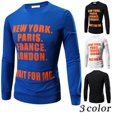 Mens T-shirt Casual Slim Fit Crew Neck Long Sleeve Shirt Tops Basic Tee Splice t