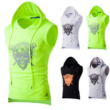 Men Gym V neck Hooded Sleeveless Top Sport Athletic Fittness Vest Muscle T-Shirt