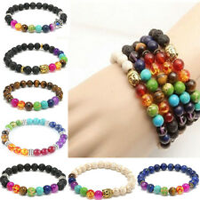 Women Men Colorful agate 7 Stone Chakra Healing Reiki Prayer 8mm Bead Bracelet