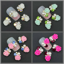 10x 3D Charms Rhinestone Pearl Rose Flower DIY Nail Art Slices Alloy Decorations