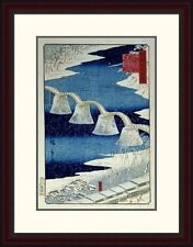 Global Gallery 'The Brocade Bridge in Snow' by Hiroshige Framed Painting Print