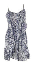 Miss Selfridge Button Thro' Grey & Purple Print Strappy Tunic/Dress with Frill