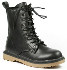 Black Faux Leather Round Toe Lace Up Military Mid Calf Combat Boot Wild Diva