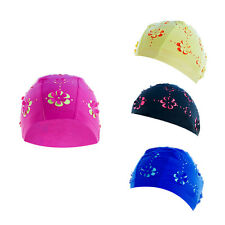 Durable Waterproof Women Swim Cap Polyester Swimming Bathing Floral Hat TB