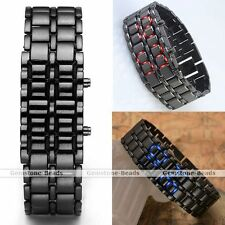 Lava Iron Samurai Black Metal Faceless Bracelet Mens Unisex LED Wrist Watch Gift
