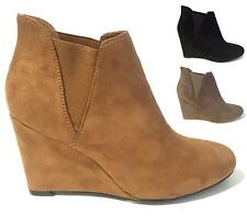 LADIES WOMENS FAUX LEATHER WEDGE PULL ON ANKLE GUSSET CHELSEA BOOTS SHOES SIZE