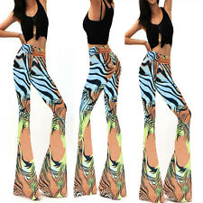 Sexy Ladies High Waist Print Pants Loose Wide Leg Stretch Bodycon Long Trousers
