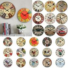 Rustic Wooden Large 30cm Clock Retro Kitchen Wall Vintage Decoration 24 Types