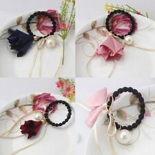NEW Women Elastic Hair Tie Band Rope Flower Pearl Charm Ponytail Holder Hairband