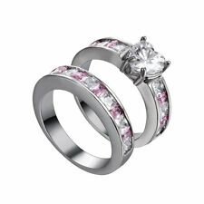 2pcs Women's Heart Pink Sapphire 10K Black Gold Filled Wedding Engagement Rings