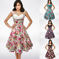 Vintage Women Hepburn 1950s Floral Rockabilly Swing Party Evening Pin Up Dress