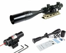 6-24X50 AOMC Rifle Scope R/G Mil-Dot W/Tri-rail Mount / Red Laser Sight Hunting