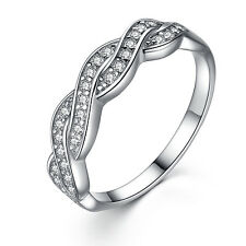 Women's Sterling Silver Cubic Zirconia Infinity Anniversary Wedding Ring Band