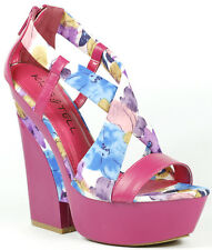 Hot Pink Floral Criss Cross Strappy Open Toe High Chunky Heel Platform Sandal