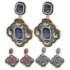 Vintage Antique Crystal Statement Bib Stud Earrings Geometric Square Earring