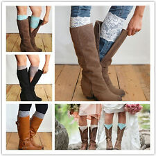 New Stretch Lace Boot Cuffs Flower Leg Warmers Lace Trim Toppers Socks Colorful