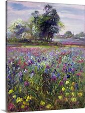 Irises and Distant May Tree, 1993 by Timothy Easton Painting Print on Canvas